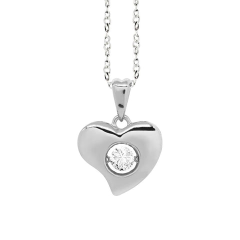 "Related product : Necklace Pendant with a curved heart measurement ""medium"" and zircon"
