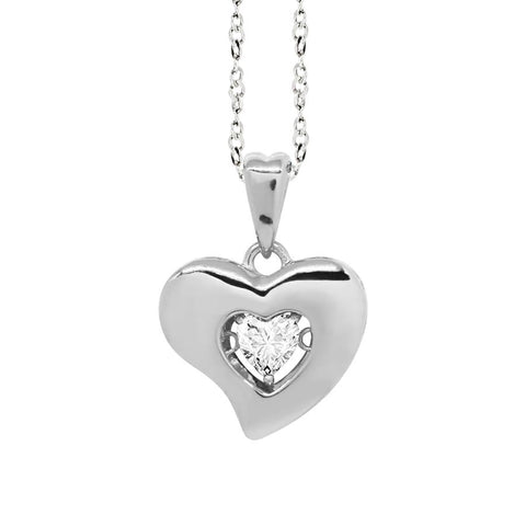 "Related product : Necklace Pendant with a curved heart measurement ""large"" and zircon"