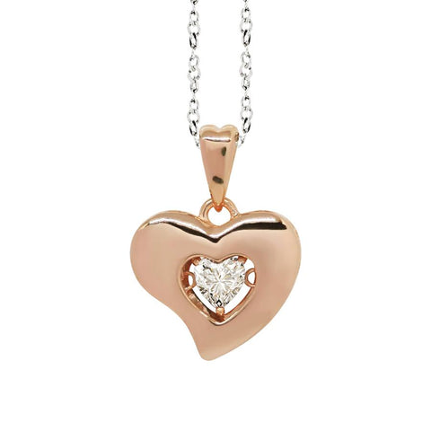 "Related product : Necklace bicolor pendant with a curved heart measurement ""large"" and zircon"