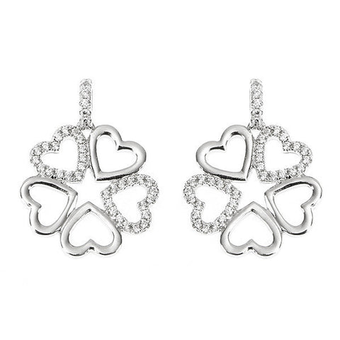 Earrings with quadrifoglio composed of hearts