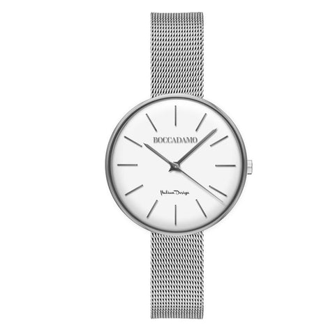 Clock knitted mesh silver with white dial