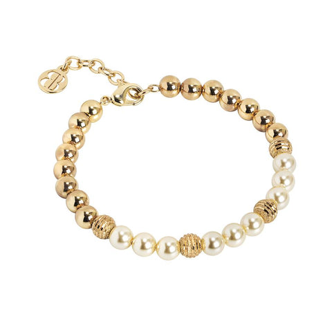 Golden Bracelet with Swarovski beads light gold