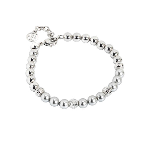 Bracelet with Swarovski beads light gray