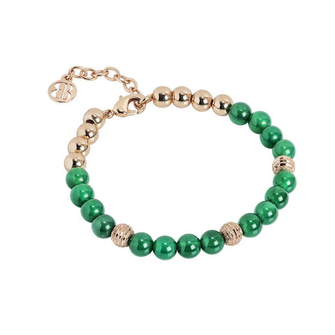 Bracelet with pearls of agate green