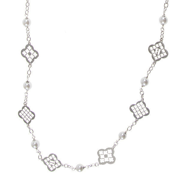 Long necklace with Swarovski beads and decorative motifs to cross