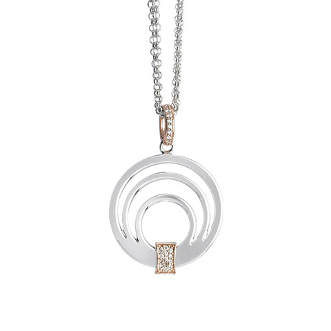 Necklace double wire with a pendant multicenter and zircons