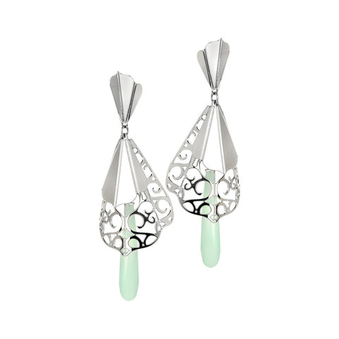 Earrings with decoration origami and colored stone with milk and mint