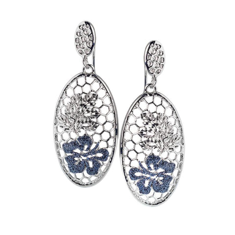 Earrings with oval pendant from the floral decoration and Glitter black
