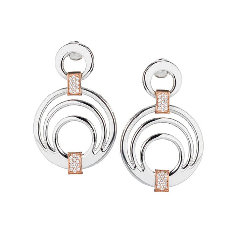 Earrings Pendant concentric and zircons