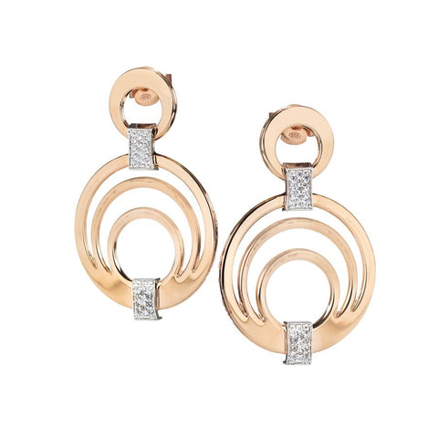 Earrings Pendant rosati concentric and zircons