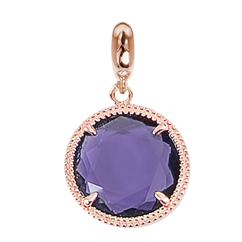 Rose charm in Faceted crystal violet