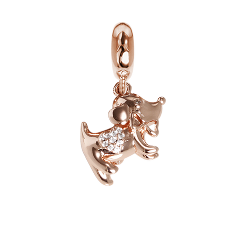 Rose charm in the shape of a dog with zircons
