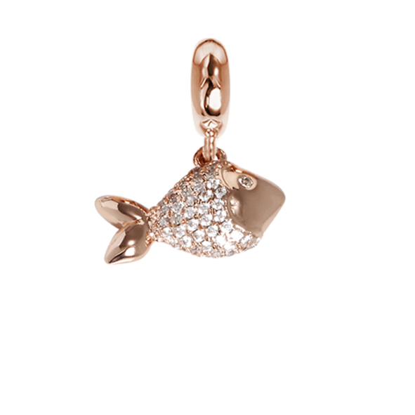Rose charm in the shape of a fish with zircons