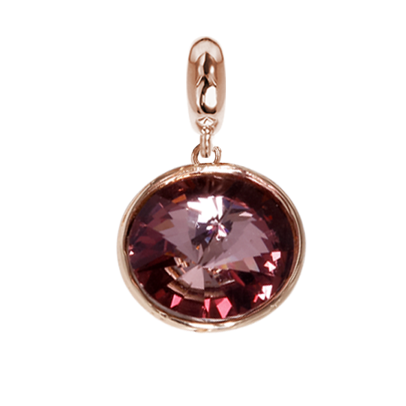Charm with Swarovski Crystal antique pink