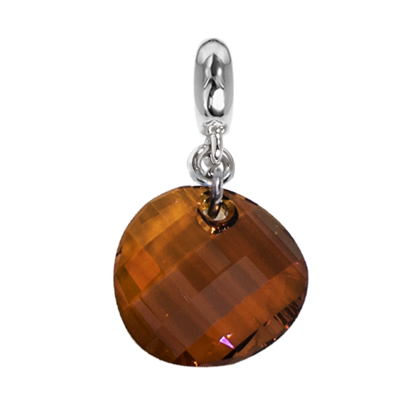 Charm with Swarovski Crystal irregular copper