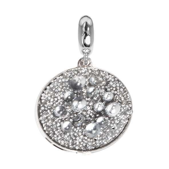 Charm with surface galuchat Swarovski silver