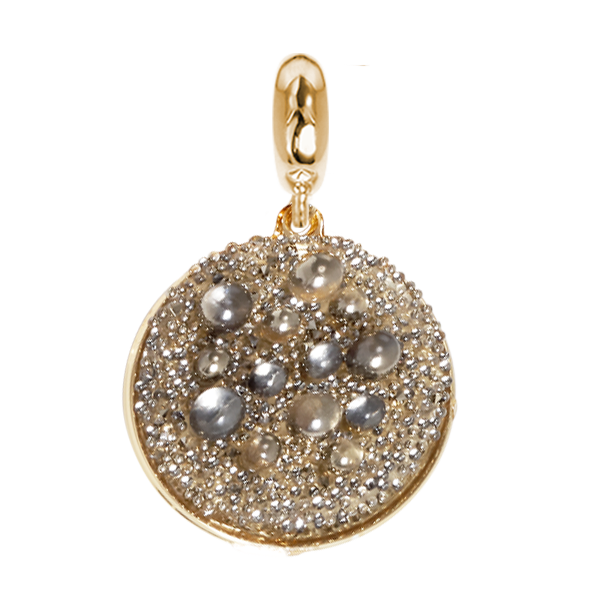 Golden charm with surface galuchat Swarovski metallic light gold