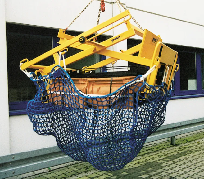 Cargo Lifting Net for Use in Heavy Duty Forklift Booms and Clamps