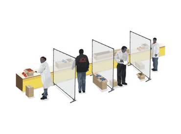 Clear Floor Standing Sneeze Guards Provide Social Distancing in Work Areas