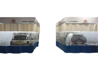 Updraft Booths with Three Sided Paint Booth Curtains