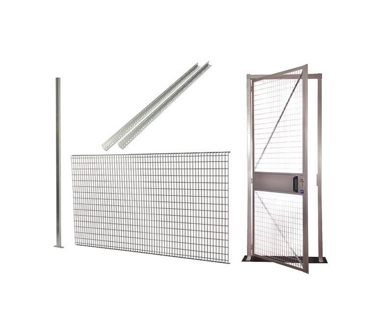 Qwik-Fence Wire Mesh Partitions H-8 ft x W-12 ft x D-8ft  -w/ Roof 2-Sided, 3-Sided, 4-Sided