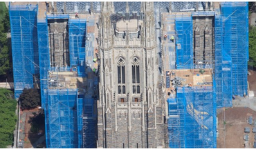 Blue Scaffold Safety Netting for Construction on Cathedral