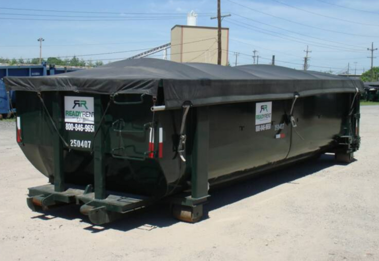 Dumpster Covers, Hand Thrown Tarps Style in Black