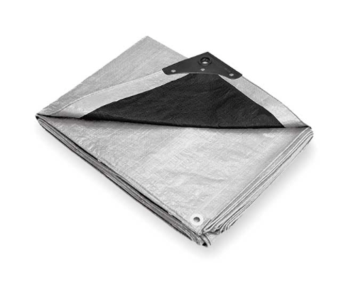 Heavy Duty Silver Tarps with Black Backside & Reinforced Corners