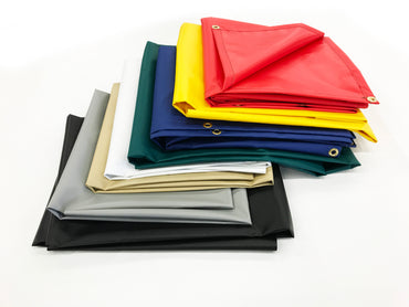 13 oz Vinyl Flame Retardant Tarps in Red, Yellow, Blue, Green, Tan, White & Gray