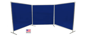 Welding Screens & Frame 2-3-4 Panels, Transparent 14 Mil Blue, See-Thru Weld Screens