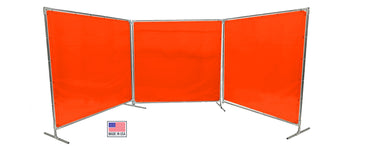 Welding Screens & Frame 2-3-4 Panels, Transparent 14 Mil Orange-Red, See-Thru Weld Screens