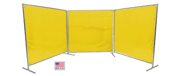 Welding Screens & Frame 2-3-4 Panels, Transparent 14 Mil Yellow, See-Thru Weld Screens