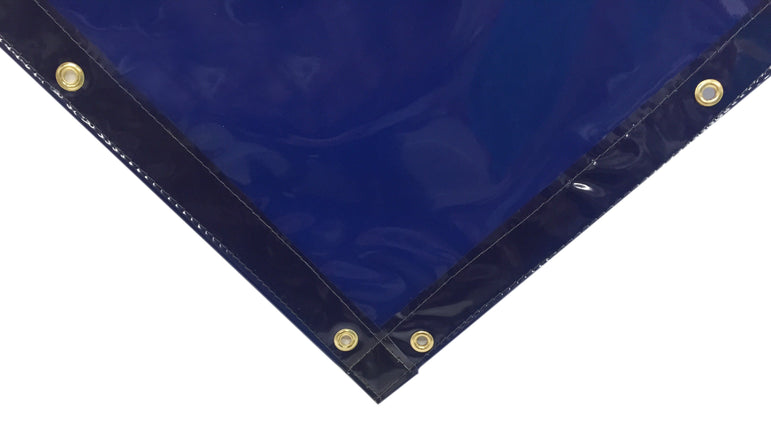 Corner view of Blue Welding Curtains with Hems and Punched Grommets from Steel Guard Safety