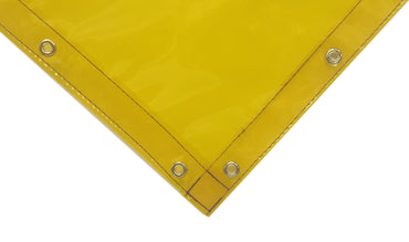 Corner view of Yellow Welding Curtains with Hems and Punched Grommets from Steel Guard Safety