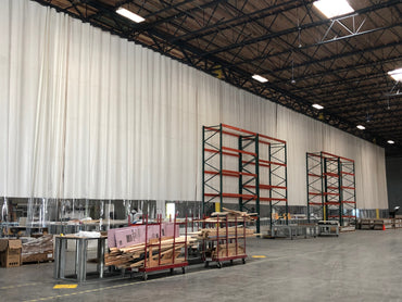 Warehouse Curtain Dividing Space in a Manufacturing Plant