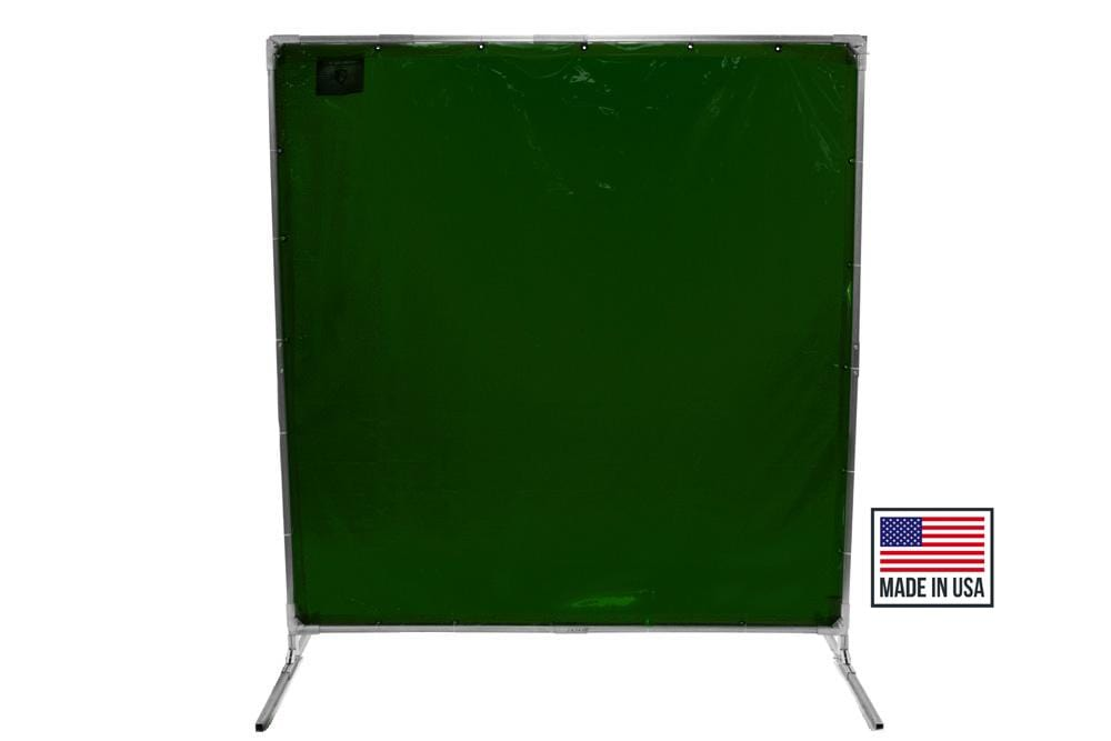 Welding Screens & Frame, Transparent 14 Mil Dark Green, See-Thru Weld Screens