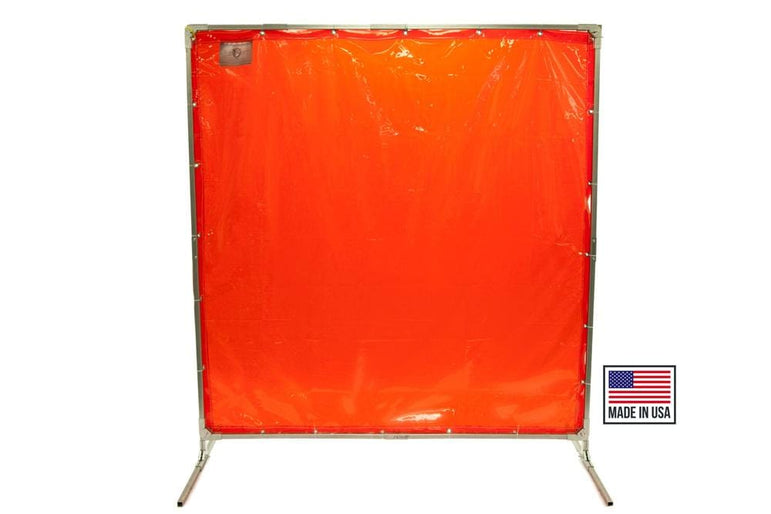 Welding Screens & Frame, Transparent 14 Mil Orange, Heavy Duty, See-Thru Weld Screens