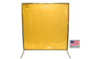 Welding Screens & Frame, Transparent 14 Mil Yellow, Heavy Duty, See-Thru Weld Screens