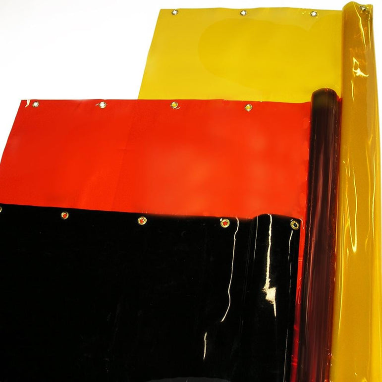 Welding Curtain Rolls in Transparent Weld-view Yellow, Orange, and Dark Green