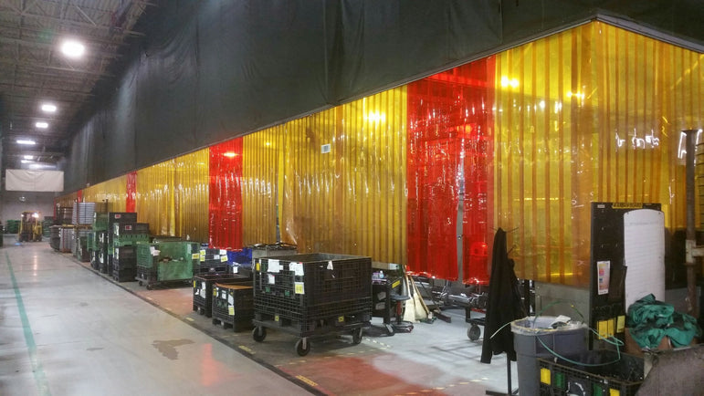 Custom Welding Strip Curtain Cell with Custom Valance Panels in Amber and Orange