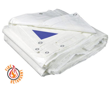 White Heavy Duty Poly Tarps - Flame Retardant