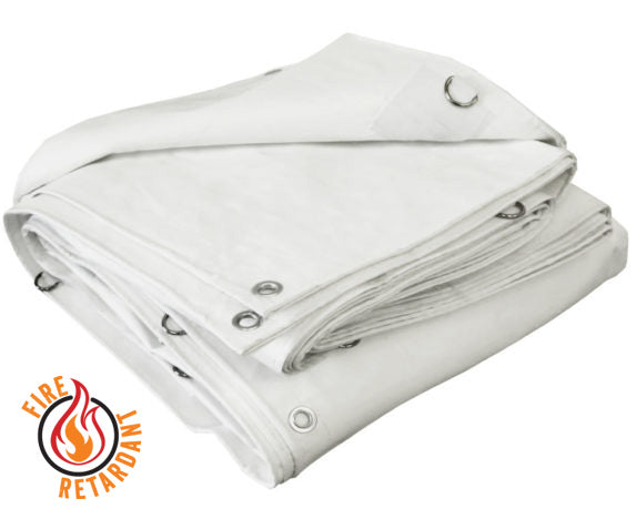 White Poly Tarps Super Heavy Duty - Flame Retardant