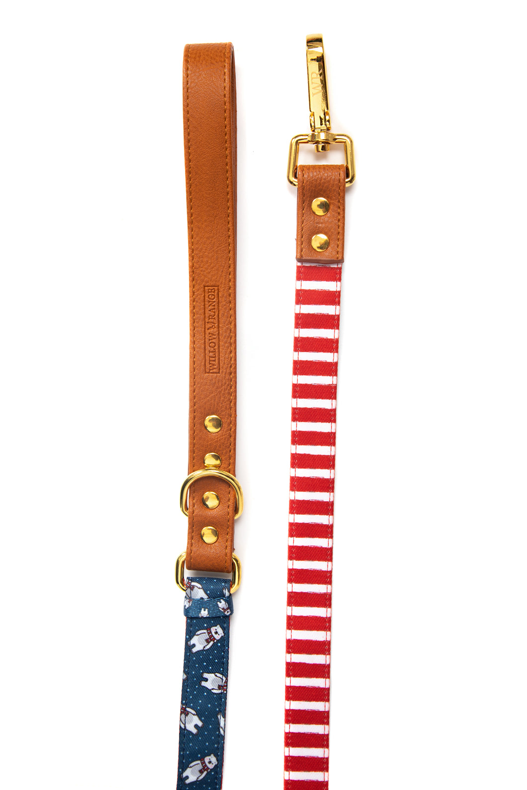 Vegan Leather adjustable dog leash with Gold Fittings `Winter Bear-  Luxury Range