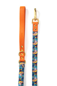 Vegan Leather adjustable dog leash with Gold Fittings `Tiger´-  Luxury Range