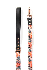 Vegan Leather adjustable dog leash with Gold Fittings `Cockatoo´-  Luxury Range