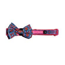 "Load image into Gallery viewer, ""Floral Mandala"" adjustable dog collar & bow tie"