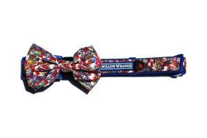 """Circus Days"" adjustable dog collar & bow tie"