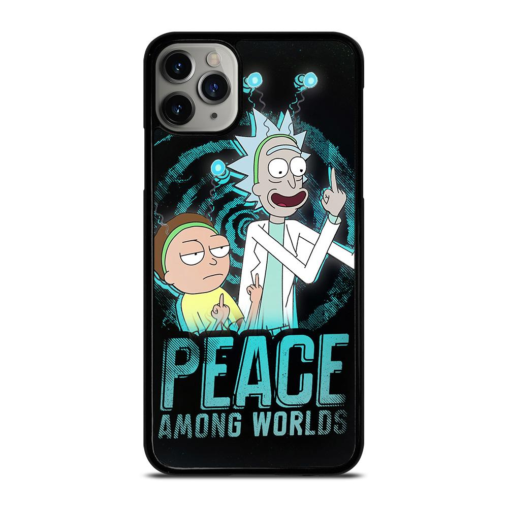 coque custodia cover fundas iphone 11 pro max 5 6 7 8 plus x xs xr se2020 C29659 RICK AND MORTY PEACE AMONG WORLDS iPhone 11 Pro Max Case