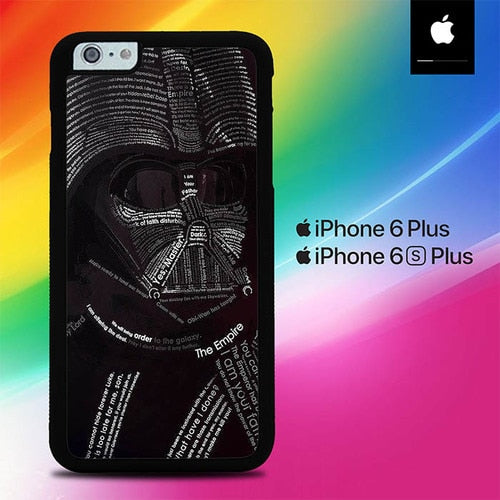 Star Wars Darth Vader Typograph O3297 fundas iPhone 6 Plus, 6S Plus