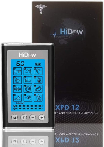 HiDow TENS Unit XPD-12 Modes | EMS Dual Independent Channels | Electronic Pulse Massager